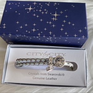 NWT GenuineLeather Crystal From Swarovski Bracelet